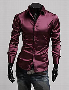 Men's Casual/Daily Work Plus Size Simple Spring Fall Shirt,Solid Classic Collar Long Sleeves