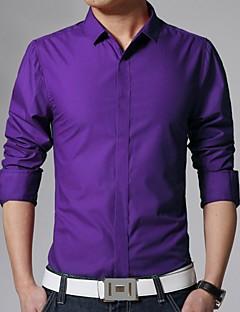 Χαμηλού Κόστους Επίσημα πουκάμισα-Ανδρικά Πουκάμισο Καθημερινά / Δουλειά Βαμβάκι / Πολυεστέρας Μονόχρωμο Κλασσικός γιακάς Λεπτό / Μακρυμάνικο