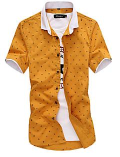 billige Herreskjorter-Bomull Tynn Store størrelser Skjorte Herre Trykt mønster Forretning / Kortermet / Sommer / Arbeid