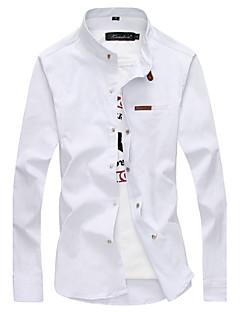 男性用 プレイン カジュアル / プラスサイズ シャツ,長袖 コットン / ポリエステル ブラック / ブルー / グリーン / レッド / ホワイト / イエロー