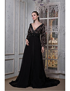 A-Line Plunging Neckline Sweep / Brush Train Chiffon Formal Evening Dress with Beading Flower(s) by SGSD