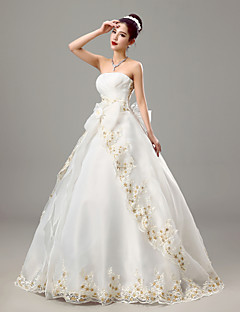 Ball Gown Strapless Floor Length Organza Wedding Dress with Criss-Cross by Embroidered bridal