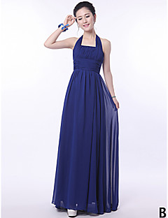 cheap Imperial Blue-A-Line Strapless Halter One Shoulder V-neck Straps Floor Length Chiffon Bridesmaid Dress with Flower(s) Sash / Ribbon Pleats by LAN TING