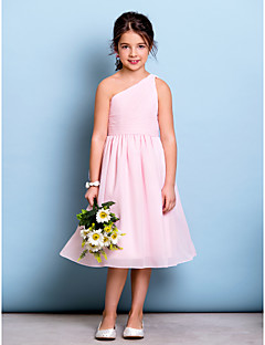 cheap Junior Bridesmaid Dresses-A-Line One Shoulder Knee Length Chiffon Junior Bridesmaid Dress with Draping Ruched Side Draping by LAN TING BRIDE®