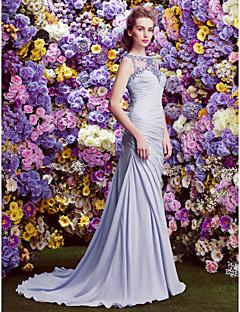 Linia -A Bateau Neck Trenă Court Șifon Satin Seară Formală Rochie cu Drapat Părți Paiete de TS Couture®
