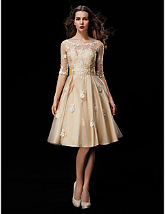 cheap Wedding Dresses-A-Line Illusion Neckline Knee Length Taffeta Tulle Custom Wedding Dresses with Beading Appliques Sash / Ribbon by LAN TING BRIDE®
