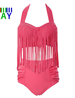 Kvinner Dusker/Ensfarget Push-up Halter Bikini Nylon/Polyester