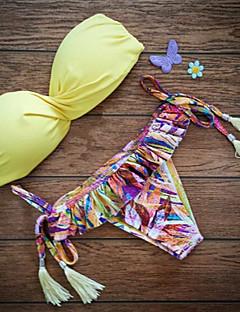 halpa -Naisten Push-up Kaarituelliset rintaliivit,Bikini Tupsuilla Yksivärinen Boheemi,Nylon Painettu