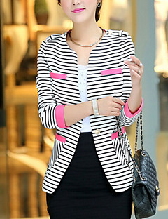 Women's Business Daily School Date Classic & Timeless Elegant & Luxurious Spring Blazer,Striped Round Neck Long Sleeve Regular Others