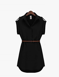 Daily A Line Dress,Solid Shirt Collar Above Knee Sleeveless Summer Inelastic Thin