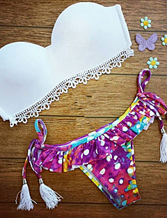olcso -Virágmintás Pánt nélküli Női Bikini , Push-up Spandex / Csipke