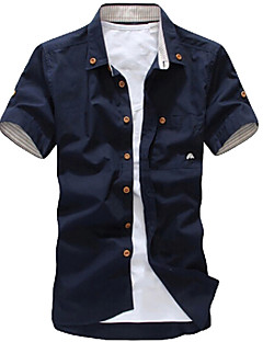 Men's Casual/Work/Formal Print Short Sleeve Regular Shirt (Cotton Blend)