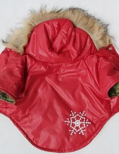 abordables -Chat Chien Manteaux Pulls à capuche Vêtements pour Chien Cosplay Motif de flocon de neige Rouge Costume Pour les animaux domestiques