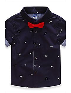 tanie Odzież dla chłopców-T-shirt Bawełna Dla chłopców Wiosna Lato Jesień Krótki rękaw Kokarda White Dark Blue Czerwony