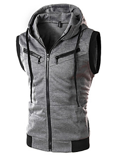 Men's Casual/Work Pure Sleeveless Regular Vest (Cotton/Polyester)