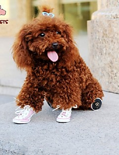 billiga Hundkläder-Katt Hund Skor och stövlar Cosplay Bröllop Gul Röd Blå Rosa För husdjur