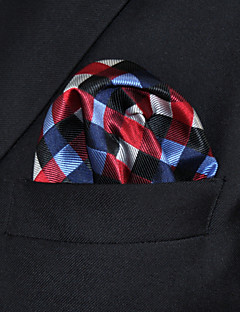 cheap Men's Ties & Bow Ties-UH2 Shlax&Wing Checked Red Blue Handkerchiefs Pocket Square Hankies Hanky