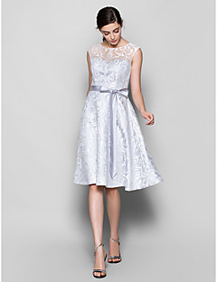 cheap Going Neutral-A-Line Scoop Neck Knee Length Lace Bridesmaid Dress with Lace by LAN TING BRIDE®
