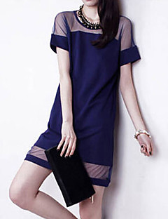Club Shift Dress,Patchwork Round Neck Above Knee Short Sleeves Polyester Summer Micro-elastic Medium