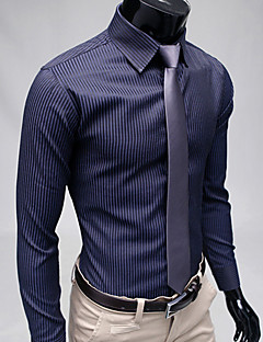 Men's Formal Casual/Daily Work Simple Spring Fall Shirt,Striped Classic Collar Long Sleeves Polyester