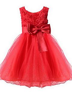 tanie Odzież dla dziewczynek-Sukienka Dziewczyny Wyjściowe Jendolity kolor Wiosna Lato Jesień Bez rękawów Kokarda Cyan Czerwony Różowy Light Blue Fuksja