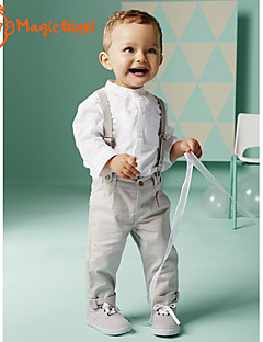 Boys' Spring Autumn Clothing Sets Long Sleeve White Shirts + Suspender Pants Twinsets (Cotton)