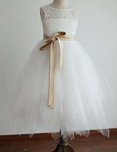 Princess Tea Length Flower Girl Dress - Lace Satin Tulle Sleeveless Scoop Neck with Ribbon by thstylee