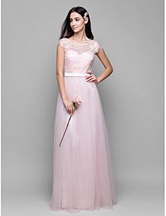 billige Romantisk rosa-A-linje Scoop Neck Gulvlang Tyll med blondeoverlegg Brudepikekjole med Blonder av LAN TING BRIDE®