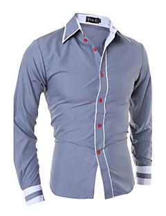 billige Herremote og klær-Bomull Tynn Spredt krage Store størrelser Skjorte Herre - Ensfarget, Grunnleggende Arbeid Svart & Rød / Langermet