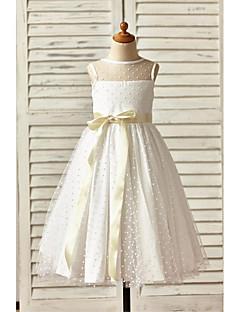 hesapli -A-Şekilli Taşlı Yaka Bilek Boyu Tül Fiyonk Kurdeleler ile Çiçekçi Kız Elbisesi tarafından LAN TING BRIDE®