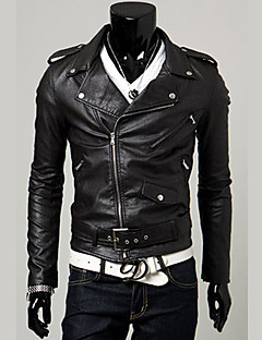 Men's Party / Evening Daily Wear Chic & Modern Winter Fall/Autumn Jacket,Solid Color Peaked Lapel Long Sleeve Regular Leatherette