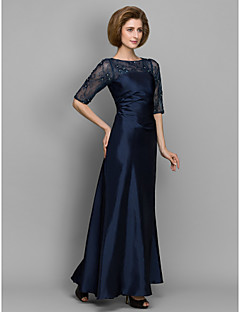 cheap -A-Line Sheath / Column Bateau Neck Floor Length Lace Taffeta Mother of the Bride Dress with Beading Lace by LAN TING BRIDE®