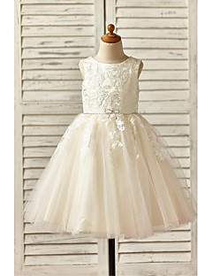 A-Line Knee Length Flower Girl Dress - Lace Tulle Sleeveless Scoop Neck with Beading by thstylee
