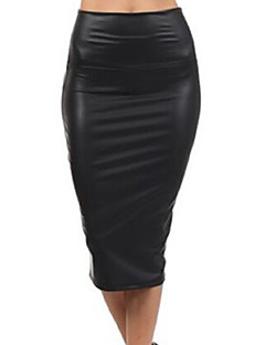 Women's Daily Midi Skirts,Vintage Bodycon PU Solid Winter Fall