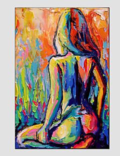 tanie Portrety abstrakcyjne-Hang-Malowane obraz olejny Ręcznie malowane - Ludzie Nowoczesny / Fason europejski Brezentowy / Rozciągnięte płótno