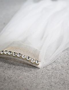 billige Bryllupsslør-To-lags Skær Kant Bryllupsslør Fingerspids Slør Med Bjergkrystal 45,28 i (115cm) Tyl