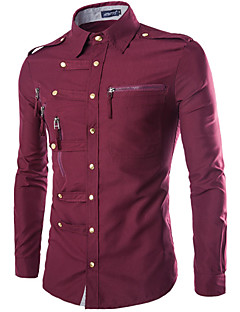 Men's Casual/Daily Simple Street chic All Seasons Shirt,Solid Classic Collar Long Sleeves Cotton Polyester Thin
