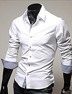 billige Herremote og klær-Bomull Tynn Klassisk krage Store størrelser Skjorte - Ensfarget Forretning Herre