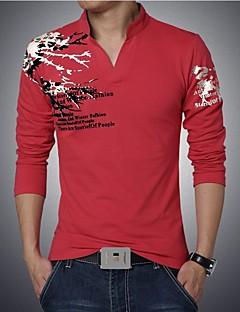 お買い得  メンズポロシャツ-メンズ カジュアル/普段着 プラスサイズ Polo,ポロ ピークドラペル プリント コットン スパンデックス 長袖