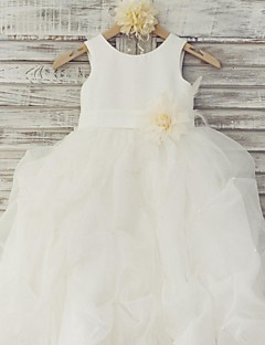Ball Gown Floor Length Flower Girl Dress - Organza Satin Sleeveless Scoop Neck with Flower by thstylee