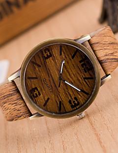 男性用 リストウォッチ 腕時計 ウッド クォーツ PU バンド グレー カーキ