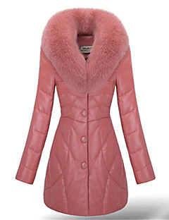 Women's Solid Color Pink / Black / Purple Coats & Jackets , Vintage / Casual Stand Long Sleeve Plus Size PeiNi