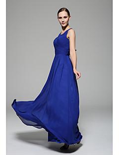 tanie Królewski błękit-Krój A Wycięcie Sięgająca podłoża Szyfon Sukienka dla druhny z Drapowania / Drapowania boczna przez LAN TING BRIDE®