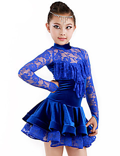 Latin Dans Drakter Barne Yteevne Spandex Polyester Drapert 2 deler Topp Skjørte