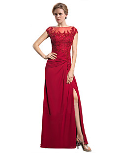 Sheath / Column Jewel Neck Floor Length Chiffon Mother of the Bride Dress with Appliques