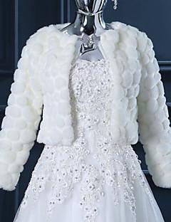 cheap Wedding Wraps-Long Sleeves Faux Fur Wedding Wedding  Wraps With Feathers / fur Shrugs