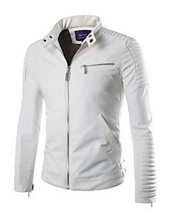 Χαμηλού Κόστους Men's Leather Jackets-Ανδρικά Σακάκι Σαββατοκύριακο Μονόχρωμο