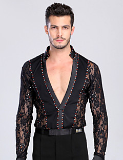 Latin Dance Tops Men's Performance Training Chinlon Lace Lace Crystals/Rhinestones 1 Piece Long Sleeve Top