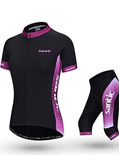 SANTIC Camisa com Shorts para Ciclismo Mulheres Manga Curta Moto Conjuntos de Roupas Respirável Poliéster Retalhos Primavera Verão Outono