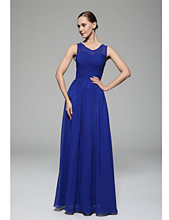 A-Line Scoop Neck Floor Length Chiffon Bridesmaid Dress with Draping Side  Draping by XFLS